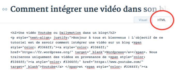 Onglet html dans l'éditeur WordPress